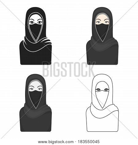 Niqab icon in cartoon style isolated on white background. Religion symbol vector illustration.