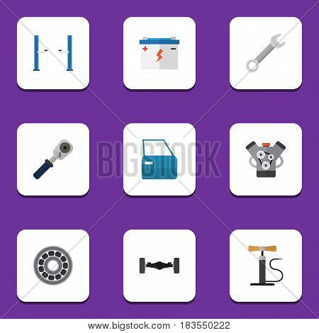 Flat Auto Set Of Brake Disk, Motor, Ratchet And Other Vector Objects. Also Includes Battery, Spanner, Lifting Elements.