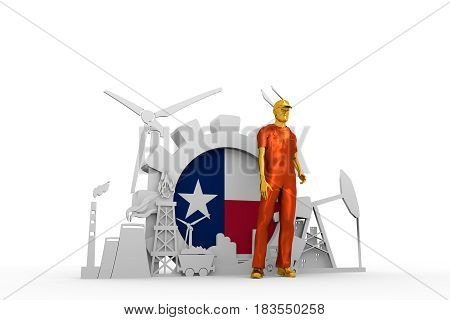 Young man wearing apron. Bearded worker at industrial isometric icons set with Texas flag. 3D rendering. Metallic material. Energy generation and heavy industry.