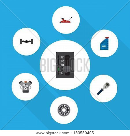 Flat Service Set Of Petrol, Brake Disk, Ratchet And Other Vector Objects. Also Includes Ratchet, Oil, Axis Elements.
