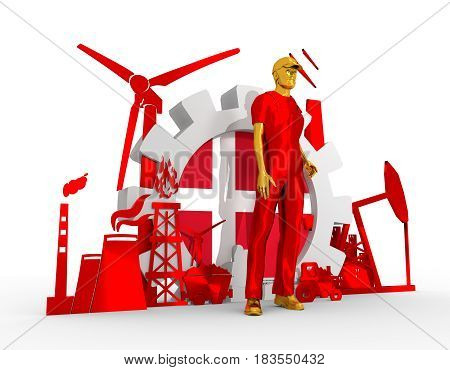 Young man wearing apron. Bearded worker at industrial isometric icons set with Denmark flag. 3D rendering. Metallic material. Energy generation and heavy industry.