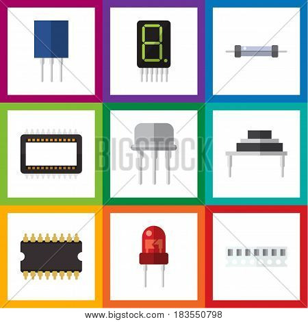 Flat Device Set Of Resist, Memory, Destination And Other Vector Objects. Also Includes Calculator, Resist, Resistor Elements.