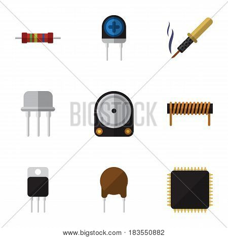 Flat Electronics Set Of Hdd, Receiver, Bobbin And Other Vector Objects. Also Includes Transducer, Motherboard, Drive Elements.