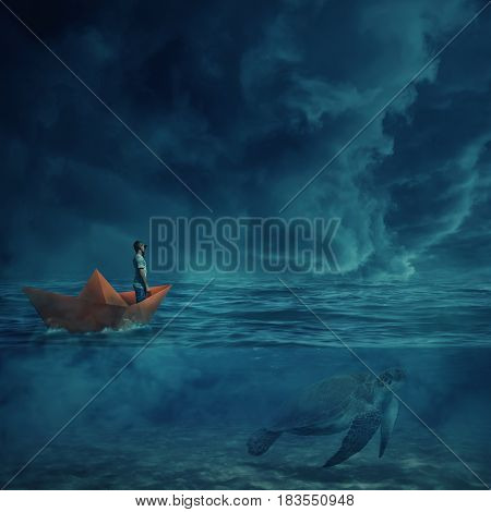 Young boy in a orange paper boat sail lost in the ocean in a stormy night and a huge turtle underwater as a guide show him the way home. Adventure and journey concept.