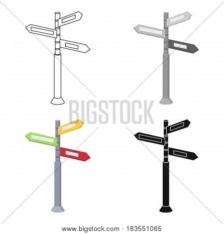 Crossroad sign icon in cartoon design isolated on white background. Rest and travel symbol stock vector illustration.