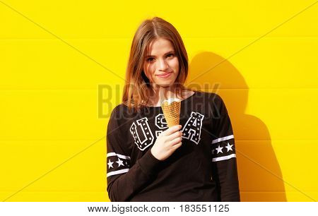 young hipster girl with  ice-cream