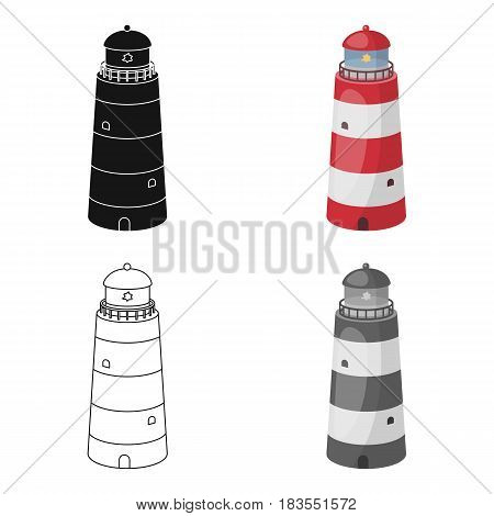 Lighthouse icon in cartoon design isolated on white background. Rest and travel symbol stock vector illustration.
