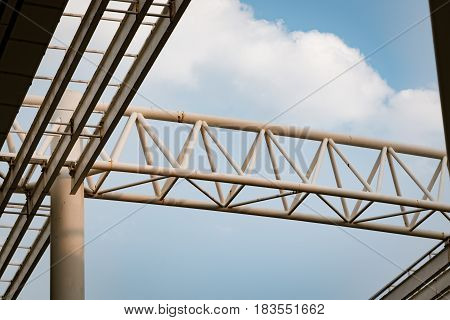 steel beam of the roof on blue sky background
