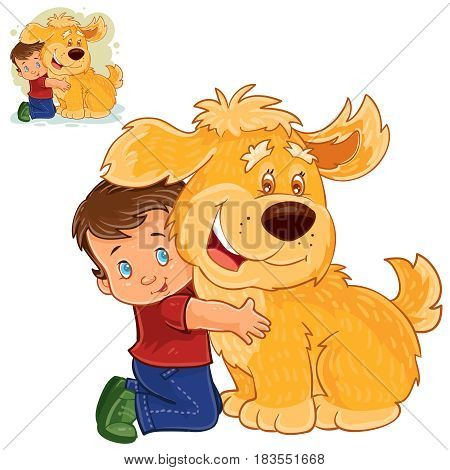 Vector illustration of a little boy sitting on his lap next to a big dog and hugging his hands. Print