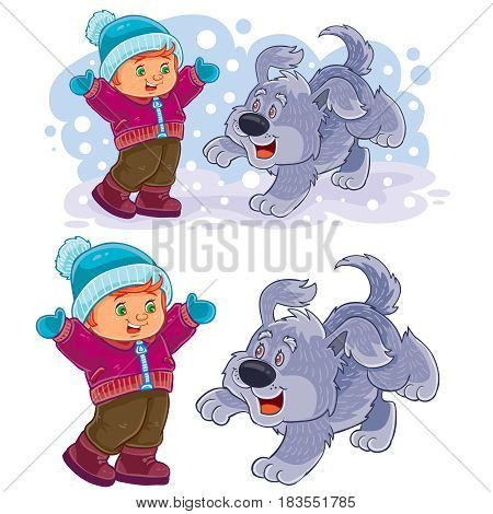 Vector winter illustration of a little boy playing with his dog outdoor. Print