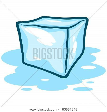 A vector illustration of a melting ice cube.