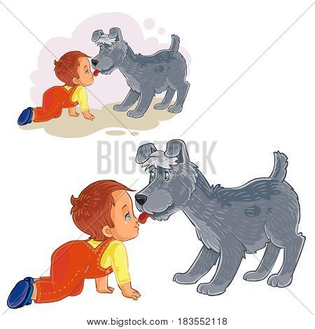 Vector illustration of a dog licked his tongue in the nose of the baby who crawled to him. Print