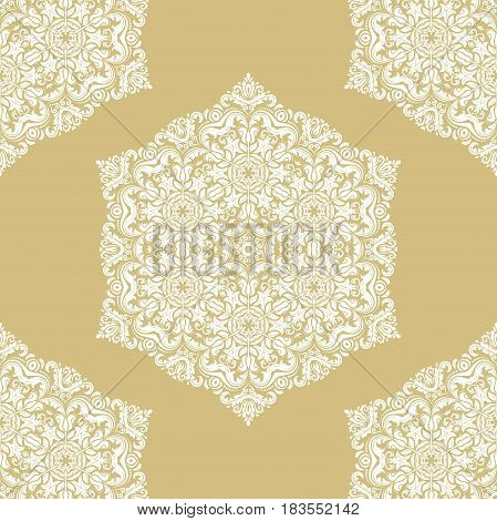 Seamless classic pattern. Traditional orient white and golden ornament