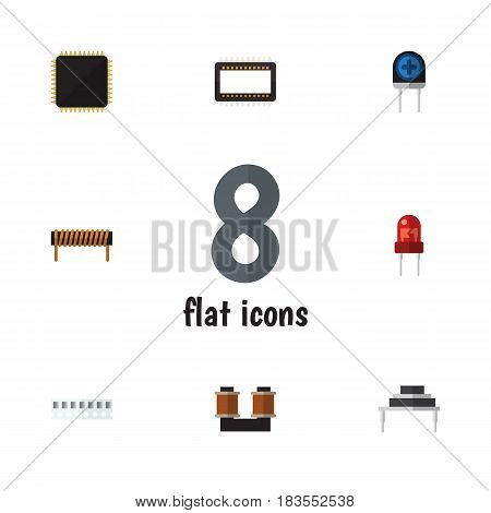 Flat Electronics Set Of Cpu, Bobbin, Destination And Other Vector Objects. Also Includes Transistor, Unit, Mainframe Elements.