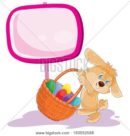 Vector illustration of an easter bunny holding a basket for hunting on decorated easter eggs. Print