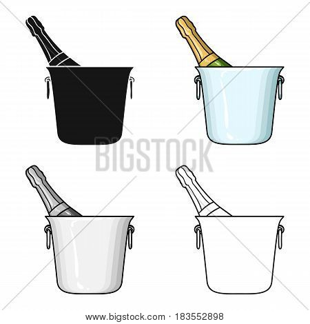 Bottle of champagne in an ice bucket icon in cartoon style isolated on white background. Restaurant symbol vector illustration.