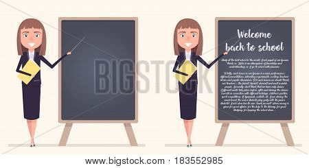 Young female teacher on lesson at blackboard in classroom. Teacher with pointer, teacher showing on board. Vector illustration in a flat style.