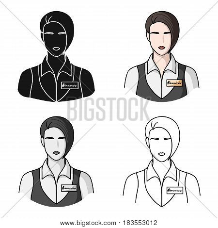 Restaurant waitress with a badge icon in cartoon style isolated on white background. Restaurant symbol vector illustration.