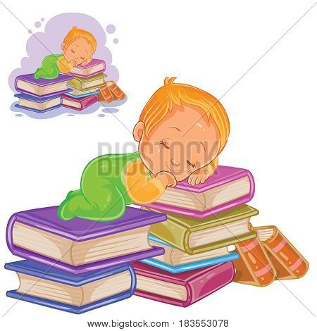 Vector illustration of a little child in sliders playing with a pile of books and falling asleep on them. Print