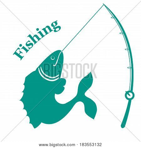 Stylized Icon With Big Fish Caught The Rod And An Inscription: