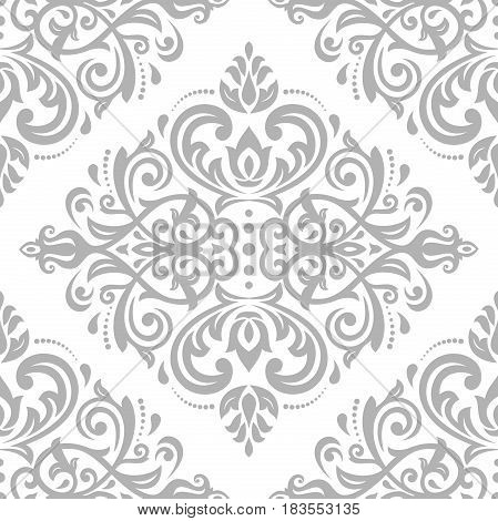 Damask classic silver pattern. Seamless abstract background with repeating elements