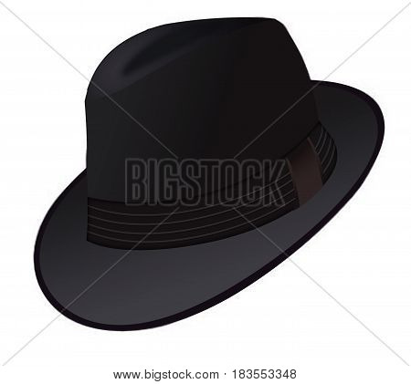 Black hat. men' black hat with ribbon on white background