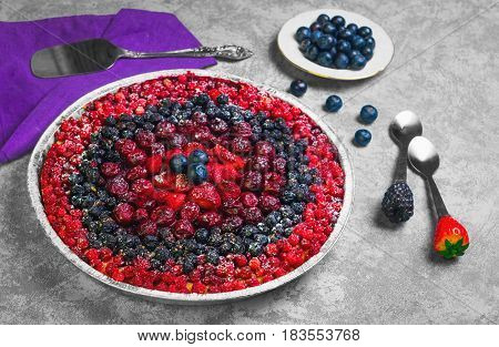Berry Round Pie Tartlet Made From Assorted Red And Blue Berries