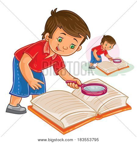 Vector illustration of a little boy reading a book with a magnifying glass. Print