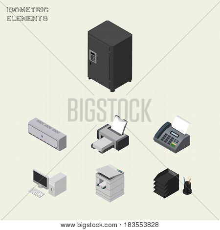 Isometric Office Set Of Strongbox, Office Phone, Computer And Other Vector Objects. Also Includes Air, Telephone, PC Elements.