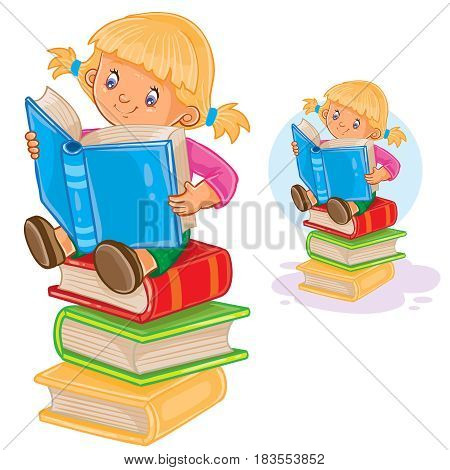 Vector illustration of a little girl is sitting on a pile of books and reading another book. Print