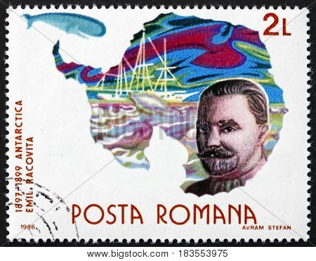 ROMANIA - CIRCA 1986: a stamp printed in Romania shows Emil Racovita Romanian Scientist and Explorer Antarctic Expedition Polar Research circa 1986