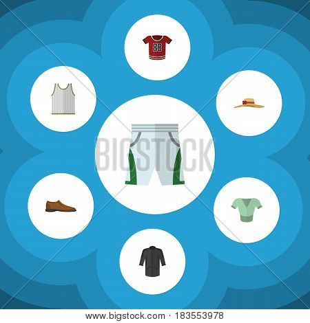 Flat Clothes Set Of T-Shirt, Uniform, Casual And Other Vector Objects. Also Includes Trunks, Singlet, Blouse Elements.