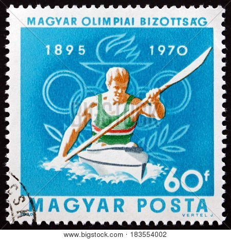 HUNGARY - CIRCA 1970: a stamp printed in Hungary shows Canoeing Olympic Sport circa 1970