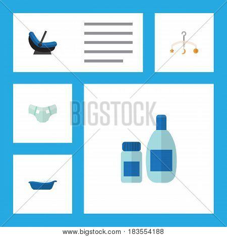 Flat Kid Set Of Cream With Lotion, Bathtub, Nappy And Other Vector Objects. Also Includes Children, Pram, Crib Elements.