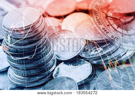 Pile and a stack of coins with technical chart of financial instruments. A concept about currency trading or investing which investors must analyse and make the right decision for optimal profits.