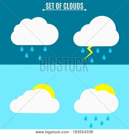 Set. Weather. A simple vector illustration in a flat style. Thunderstorm and rain on a dark background. The sun and voluminous clouds on a light background. EPS 8