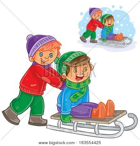 Vector winter illustration two boys friends ride a sled. Print