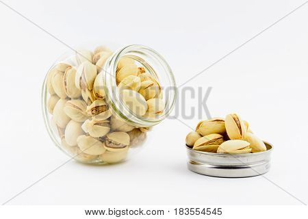 Isolated Roasted Pistachios Nuts On A White Background