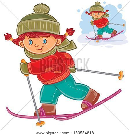 Vector winter illustration of a little girl skiing.
