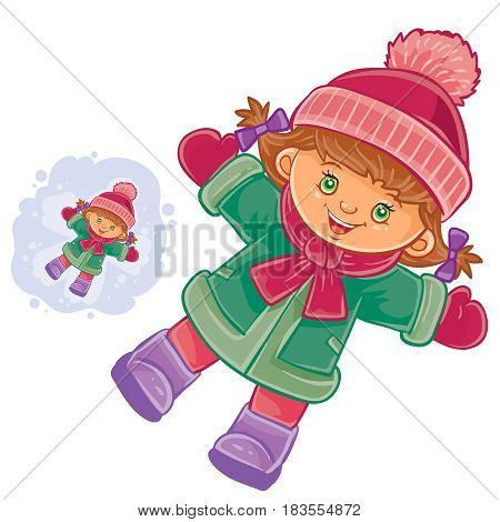 Vector winter illustration of a little girl lies on the snow and makes a snow angel.