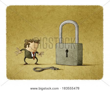 Businessman with a key and a padlock. It is a metaphor to find a solution or a security metaphor.