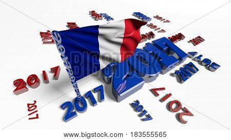 3D illustration of Close up on French flag in the wind with 2017 designs on a white background
