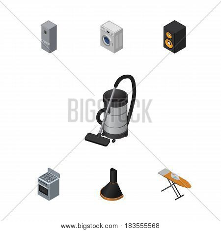 Isometric Technology Set Of Kitchen Fridge, Laundry, Music Box And Other Vector Objects. Also Includes Extractor, Vac, Refrigerator Elements.