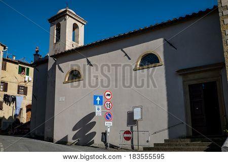 Guardistallo, Pisa, Italy - April 23, 2017: Historic Tuscany Hamlet