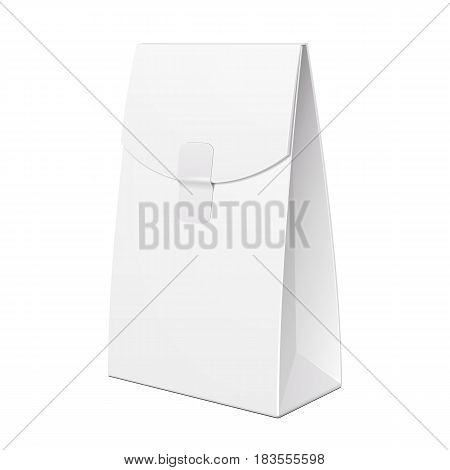 White Cardboard Carry Box Bag Packaging For Food, Gift, Cosmetics Or Other Products. Illustration Isolated On White Background. Mock Up Template Ready For Your Design. Product Packing Vector EPS10
