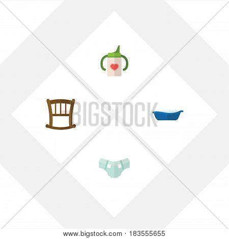 Flat Child Set Of Nursing Bottle, Infant Cot, Nappy And Other Vector Objects. Also Includes Bathtub, Nursing, Nappy Elements.