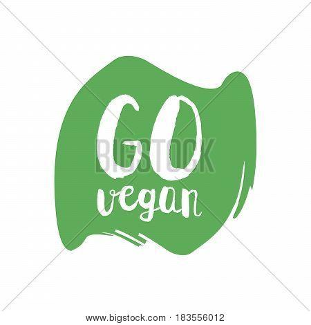 Go Green Letters In Grunge Round Background. Vector Logo Illustration