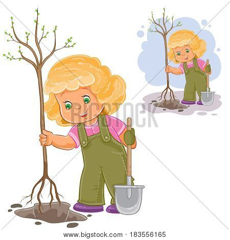 Vector illustration of a little girl planting a tree, the concept of protecting the environment. Print