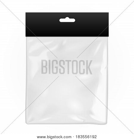Black Blank Plastic Pocket Bag. Transparent. With Hang Slot. Illustration Isolated On White Background. Mock Up Template Ready For Your Design. Vector EPS10