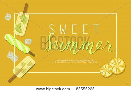 Summer ice-cream menu banner with Berries and fruits for online cafes, restaurants, advertising actions, magazines and websites. Vector illustration eps 10